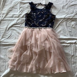 RARE EDITIONS PINK CHIFFON RUFFLE & NAVY DRESS 14